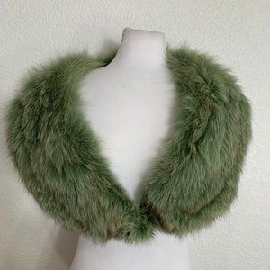 Vintage Dyed Green Faux Fur Stole Collar Scarf